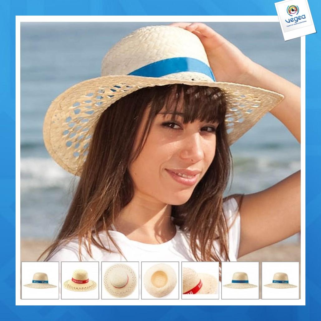 Chapeau de paille publicitaire femme 100% palme