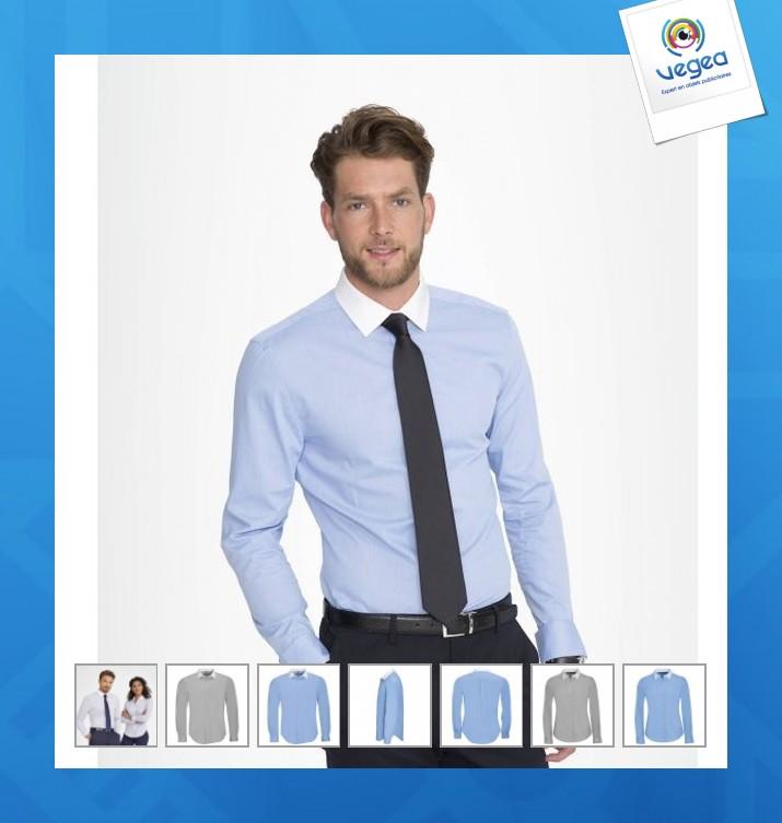 Chemise publicitaire  col blanc belmont