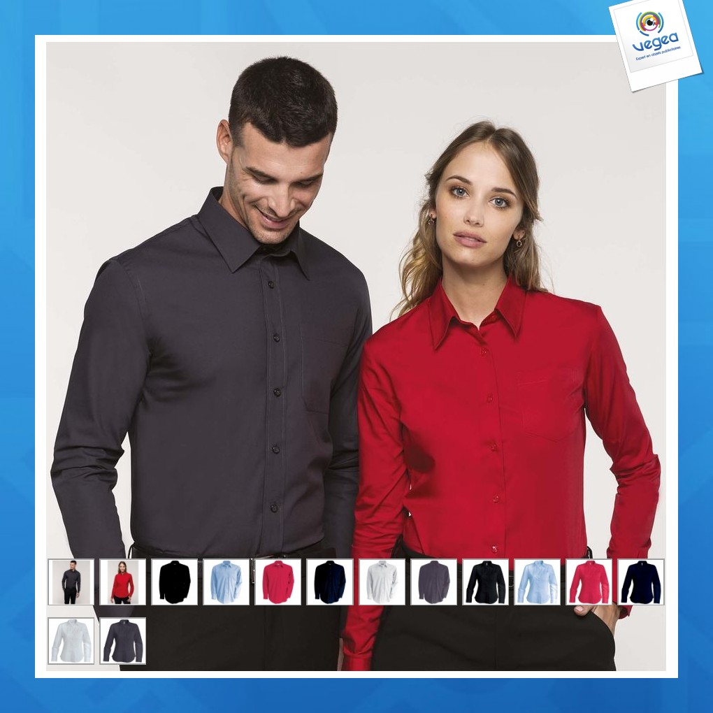 Chemise personnalisable popeline manches longues