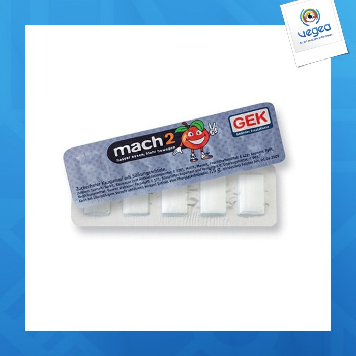 Chewing-gum publicitaire sous blister swiss gum