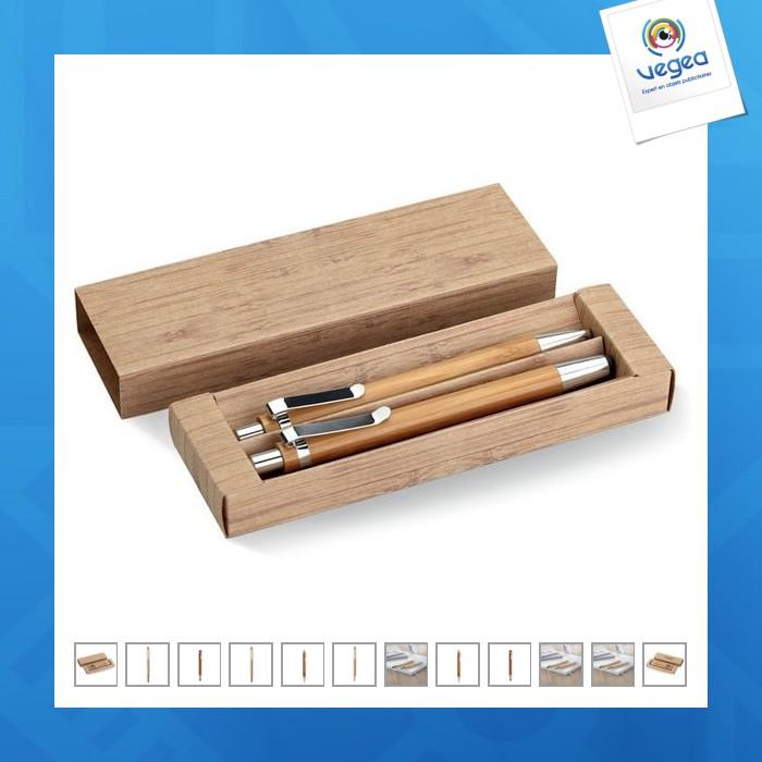 Coffret bambou stylet et porte-mines