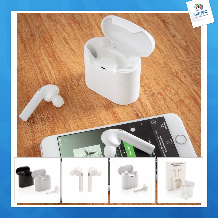 Écouteurs sans fil avec boîtier