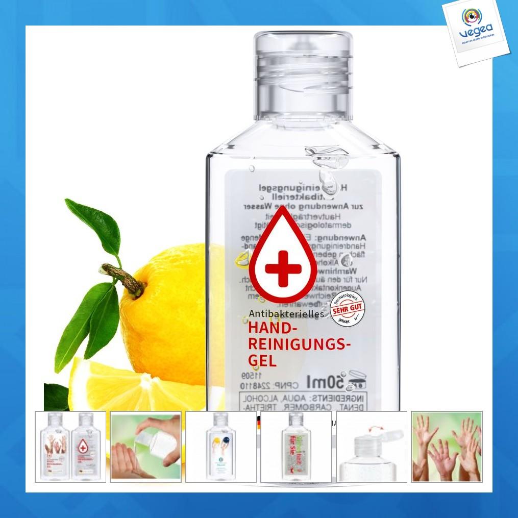 Flacon de gel publicitaire hydroalcoolique 50ml