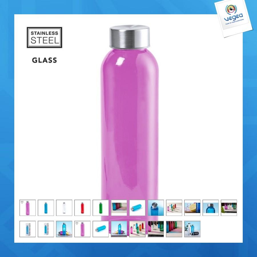 Gourde personnalisable en verre 50cl colorée