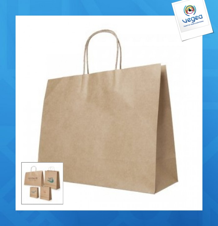 Grand sac en papier personnalisable kraft brun