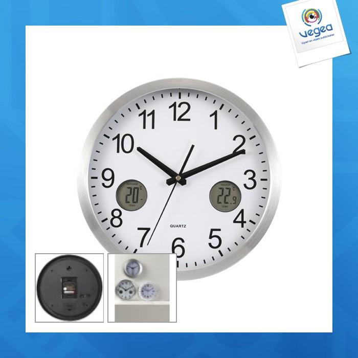 Horloge murale logotée en aluminium