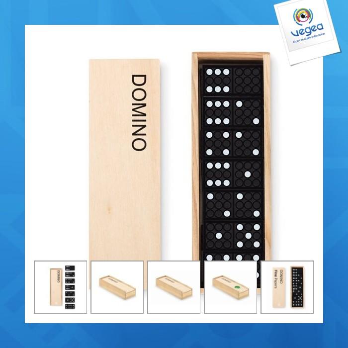 Jeu de domino logoté dans une boîte