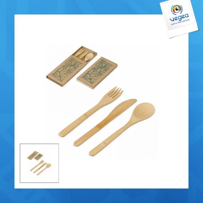 Juego de 3 cubiertos de bambú