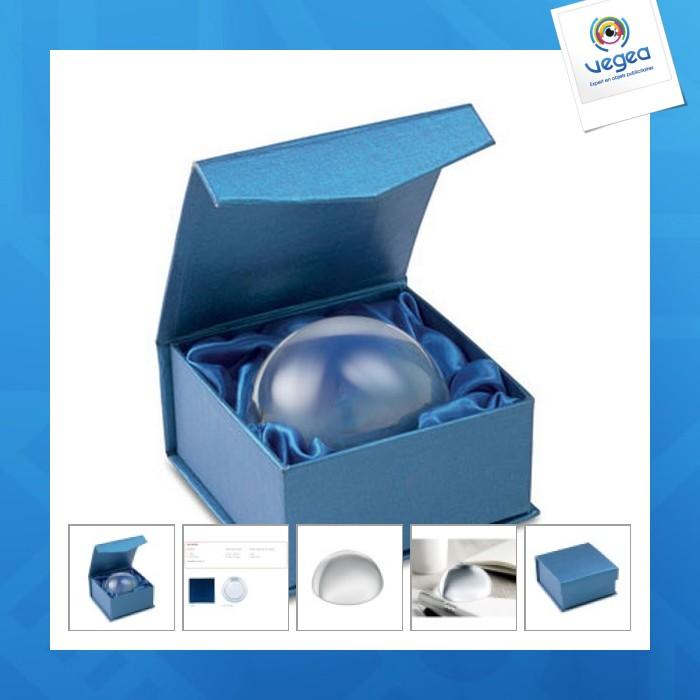 Loupe presse-papier logoté demi-sphère en verre