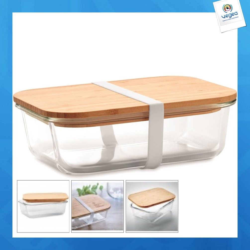 Lunchbox in glass and bamboo