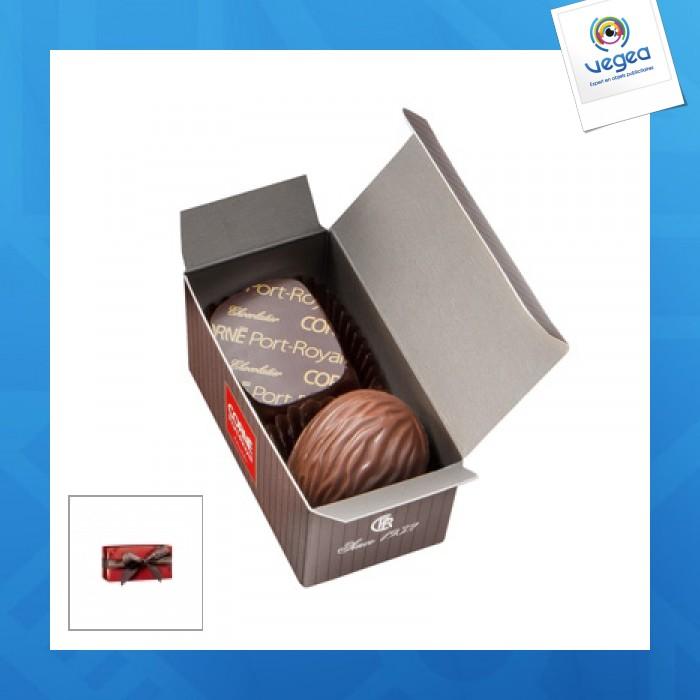 Mini ballotin 2 chocolats assortis.