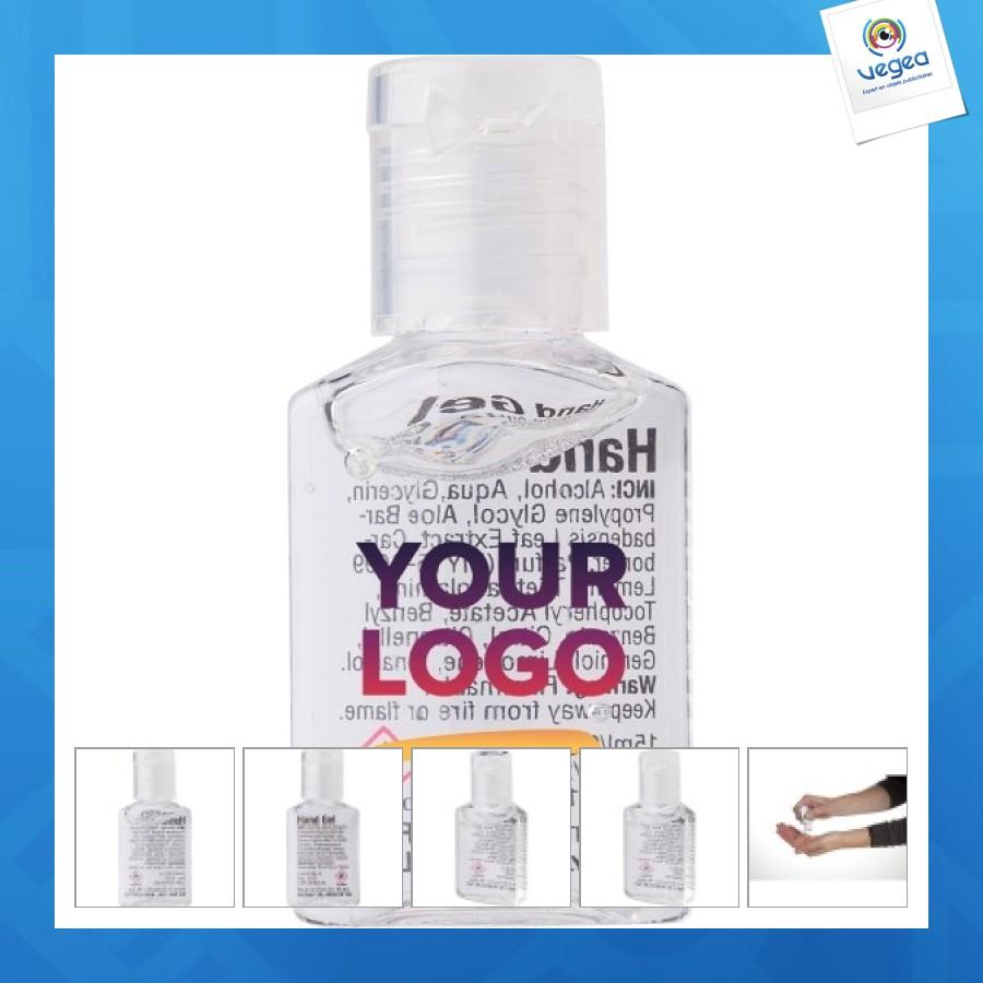 Mini botella de 15ml de gel antibacteriano personalizable