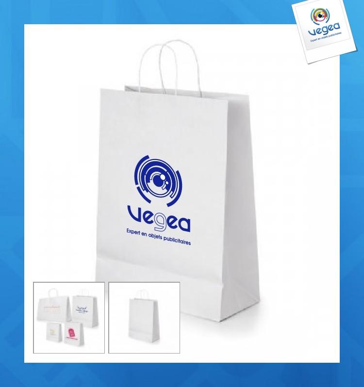 Moyen sac en papier personnalisé kraft blanc