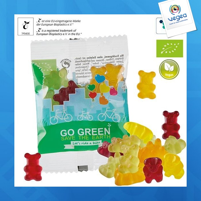 Oursons bio pour végétaliens*, sachet compostable