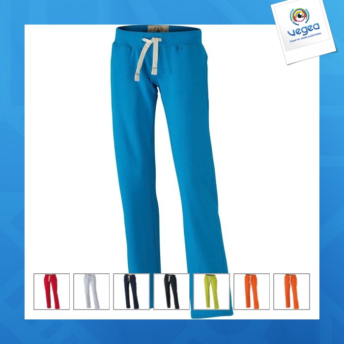 Pantalon jogging logoté uni femme
