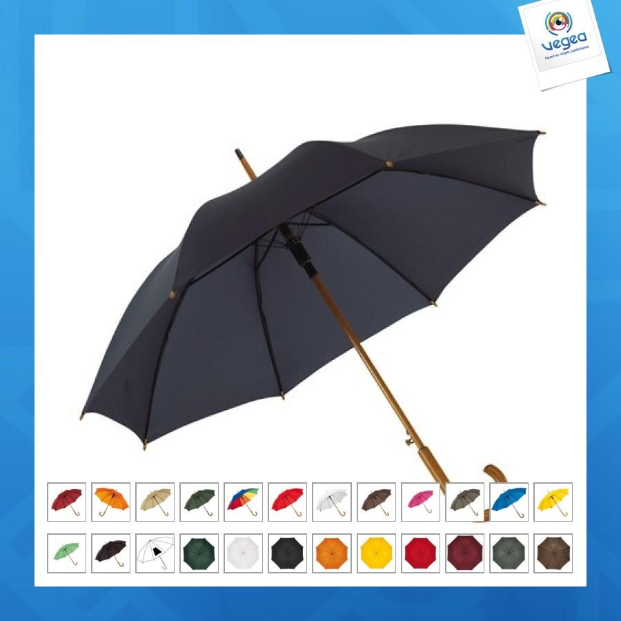 Paraguas de madera automático con mango de cuello de cisne
