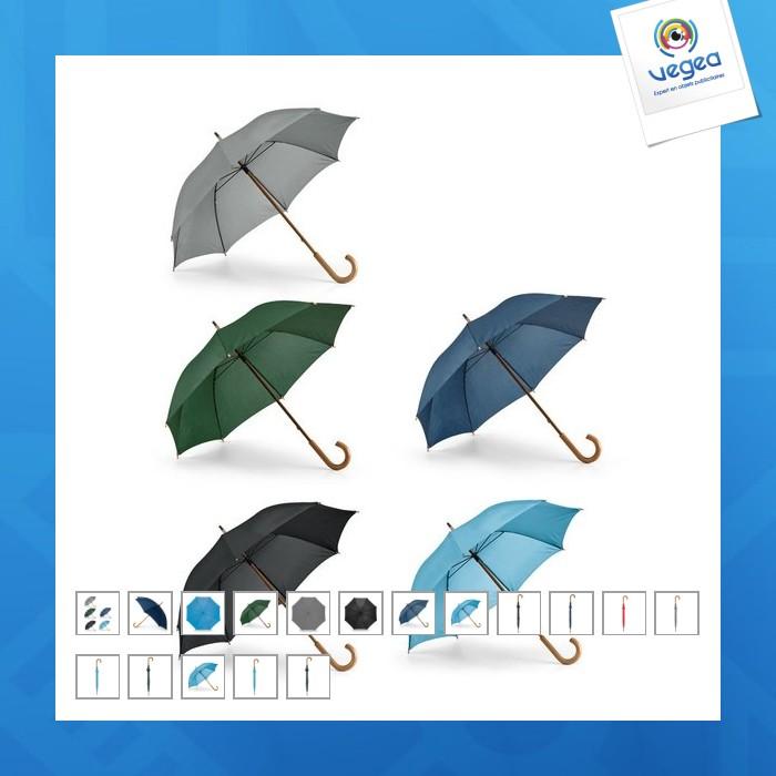 Parapluie personnalisable canne avec manche et poignée en bois courbée