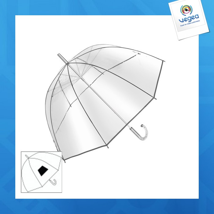 Parapluie cloche personnalisé transparent avec poignée col de cygne