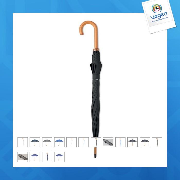 Parapluie publicitaire canne avec toile recyclée