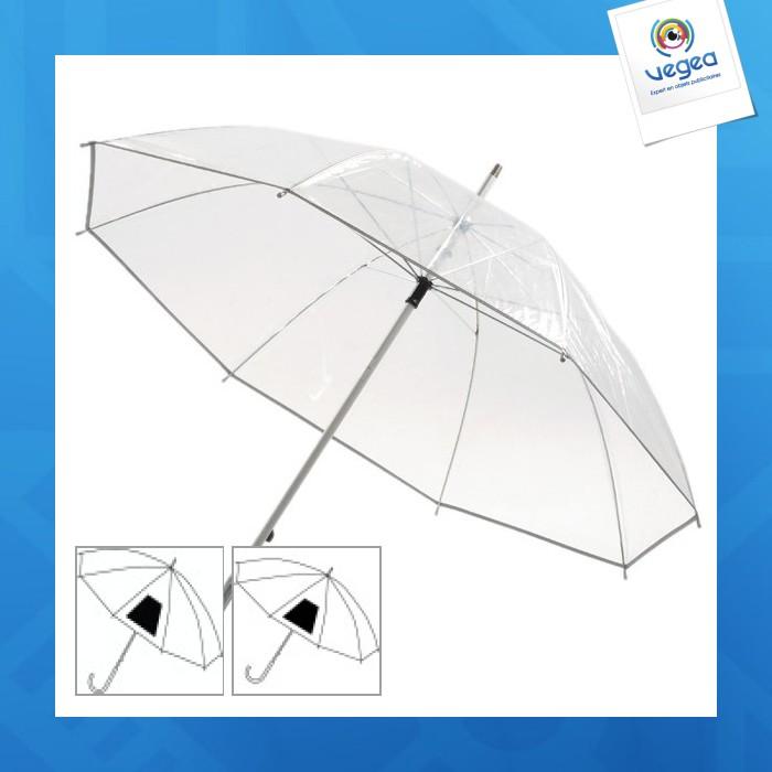 Parapluie transparent personnalisable avec poignée alu courbée