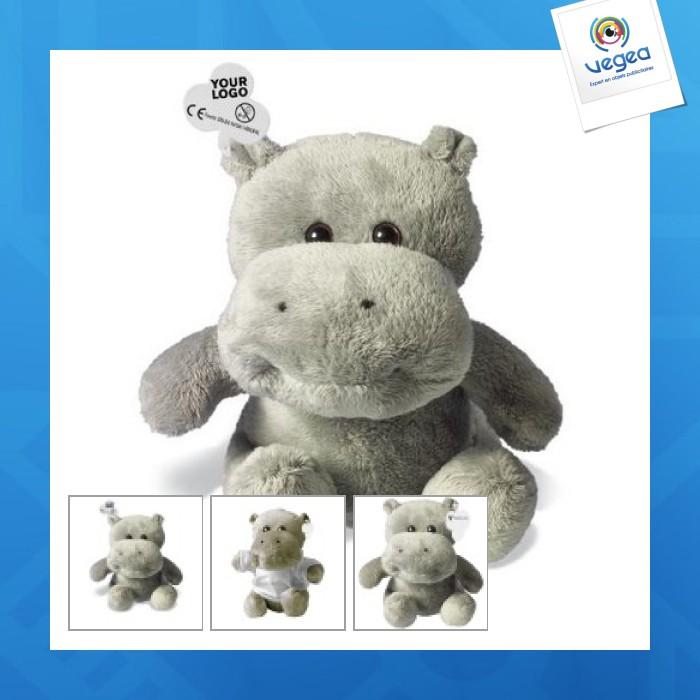 Peluche personnalisable hippopotame, petit modèle, sans t-shirt