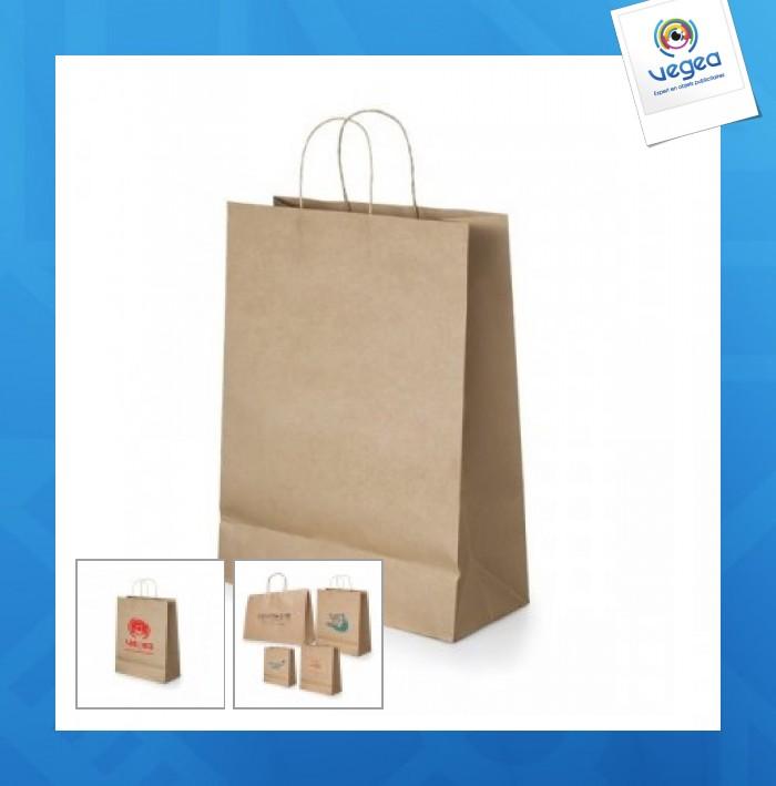 Petit sac en papier publicitaire kraft brun