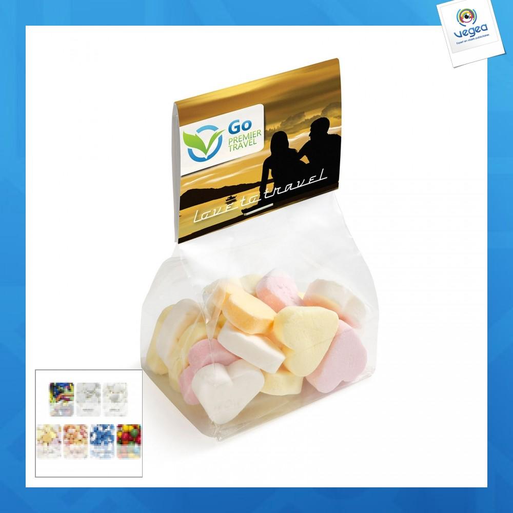 Petit sachet de bonbons avec carte imprimée
