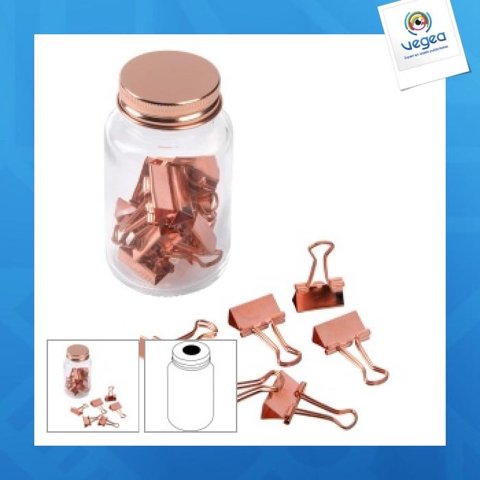 Pince à documents en bocal copper clamp