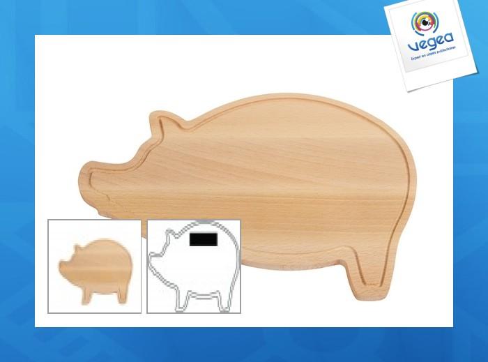 Planche à découper publicitaire wooden piggy