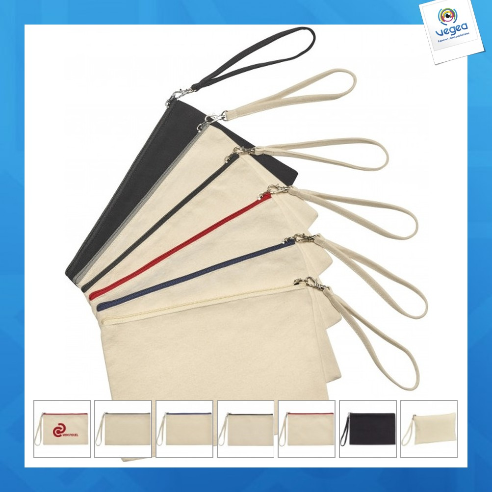 Pochette zippée en coton bio marylin 26x17cm