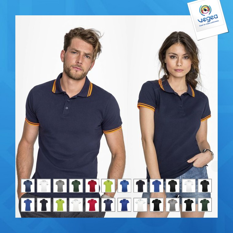 Polo personalizable fit contrast 200g pasadena