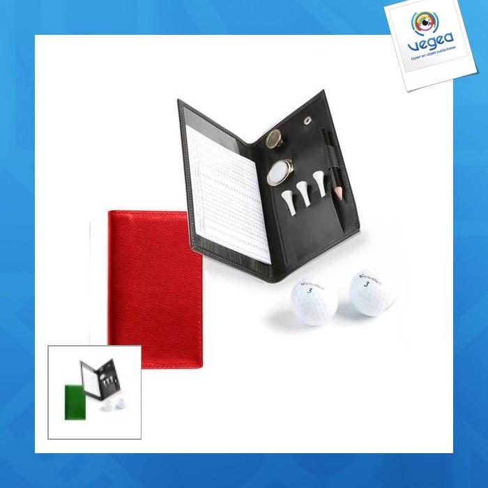 Porta tarjetas de cuero para la puntuación de golf