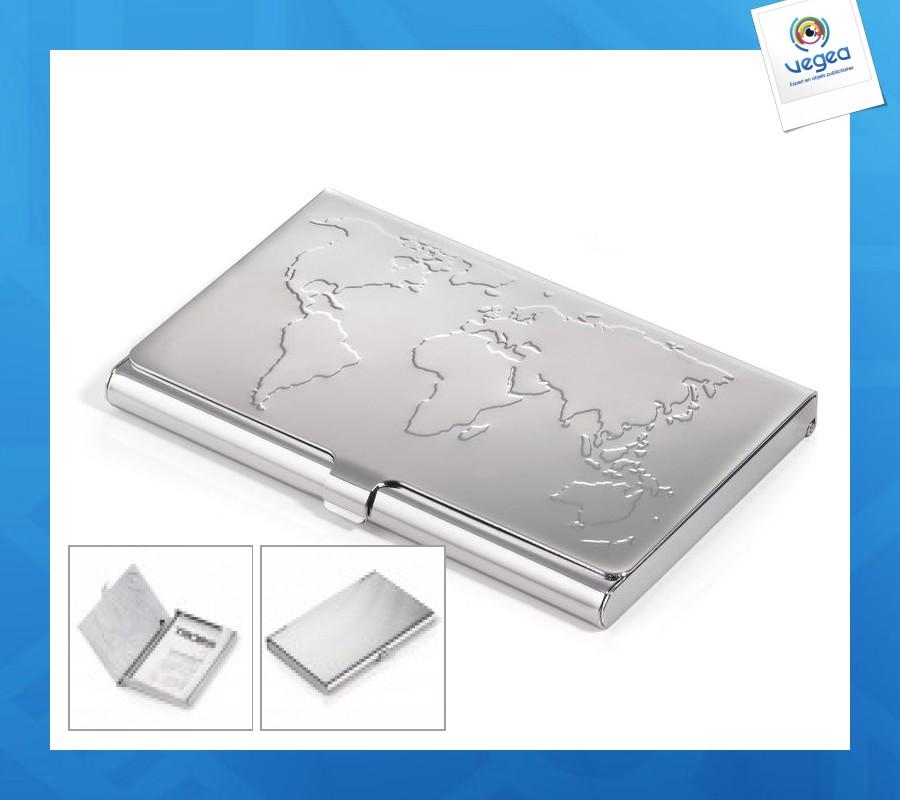 Porte Cartes Publicitaire Personnalise Metal Mappemonde