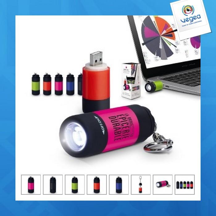 Porte cle lampe personnalisé 1 led rechargeable par usb