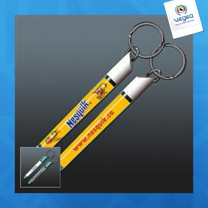 Porte-clés avec insert liquide logoté flottant