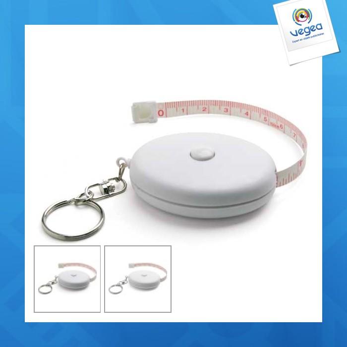 Porte-clés avec mètre ruban personnalisable  de 1,5 mètre
