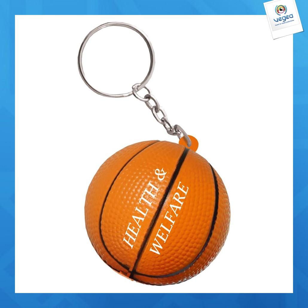 Porte-clés ballon de basket publicitaire anti-stress