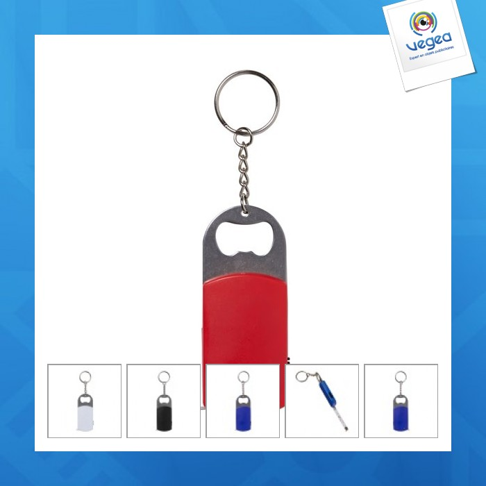 Porte-clés décapsuleur, mètre et lampe