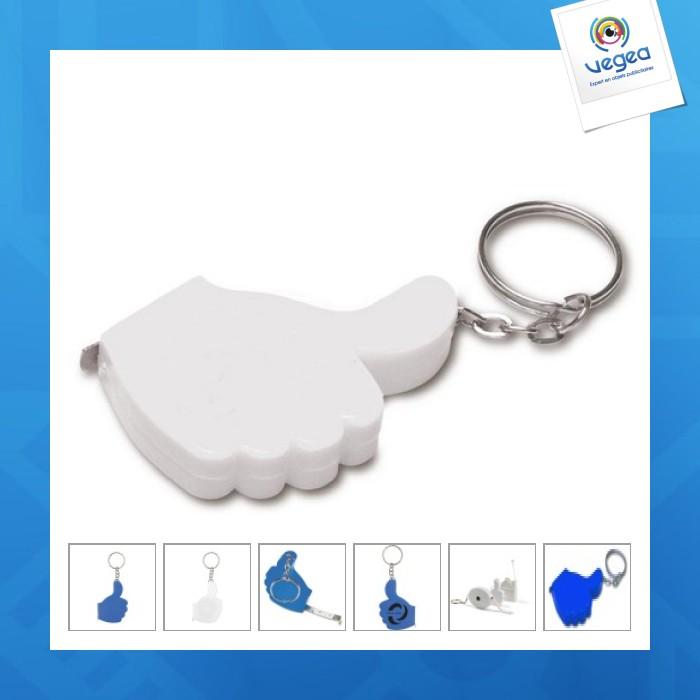 Porte-clés logoté mètre ruban 'pouce' 1m