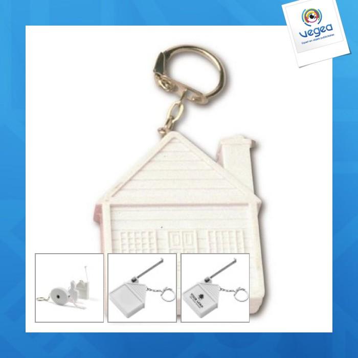 Porte-clés mètre-ruban  maison  de 2 m personnalisable ... 3e002ae7536
