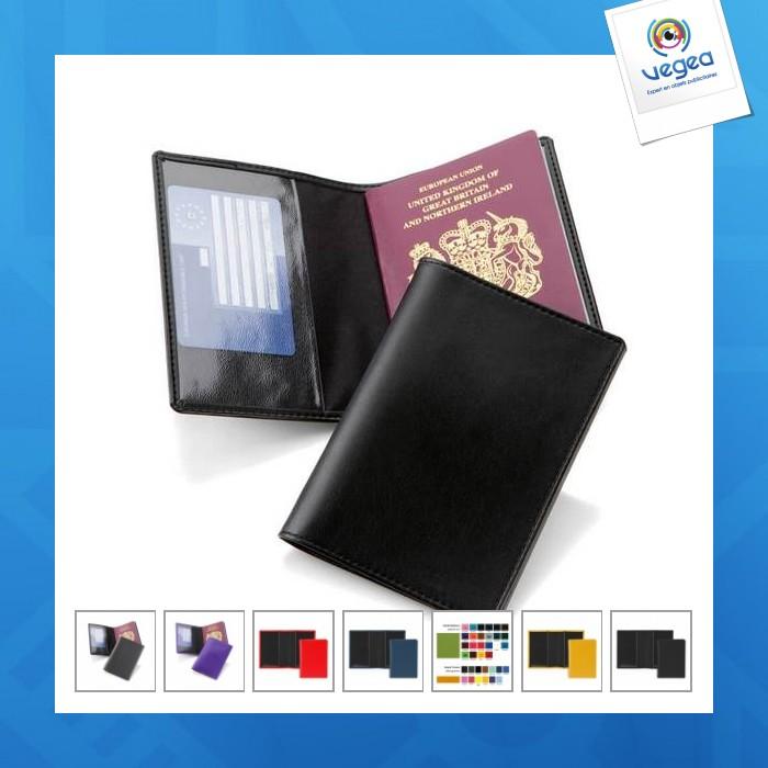 Porte passeport logoté en cuir