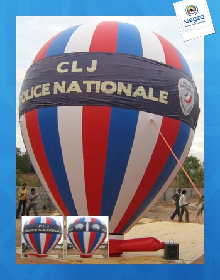Publicité gonflable : montgolfière avec personnalisation  gonflable auto-ventilée