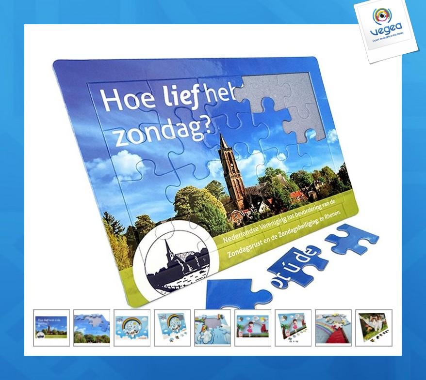 Puzzle publicitaire personnalisé  sur socle 19x27cm