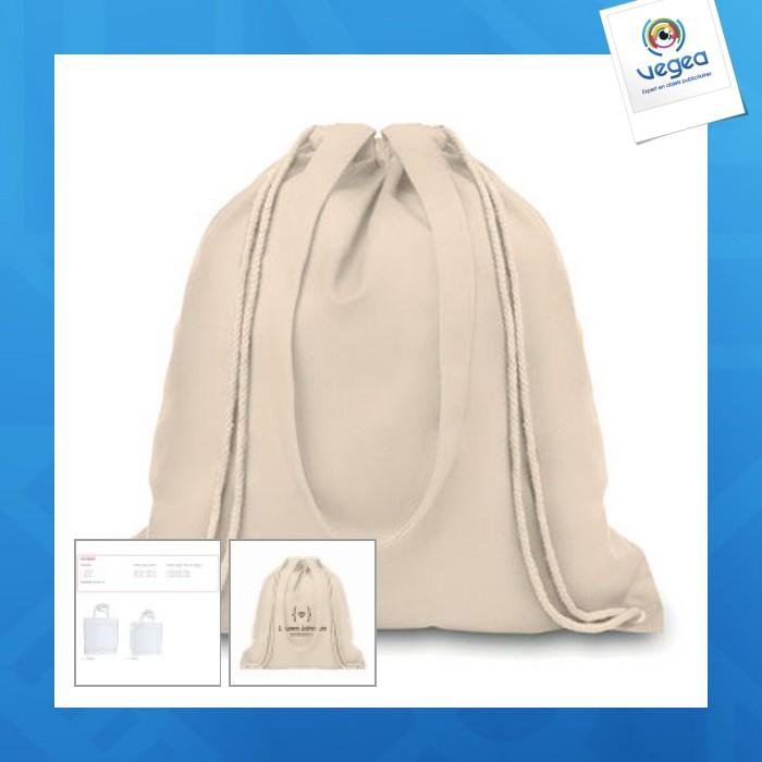 Sac shopping à cordelette / sac à dos personnalisable coton