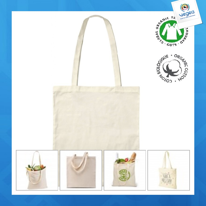 Sac shopping publicitaire  coton bio - tote bag naturel