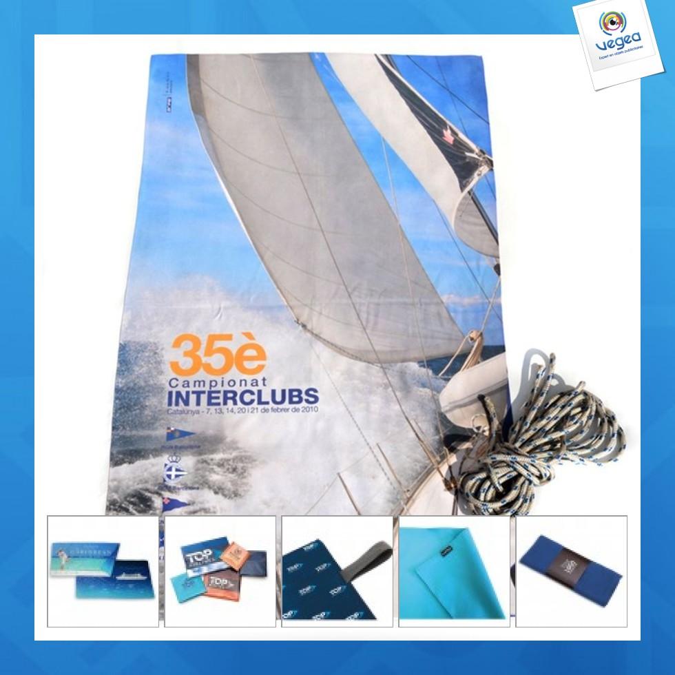 Serviette microfibre publicitaire 90x160cm quadri