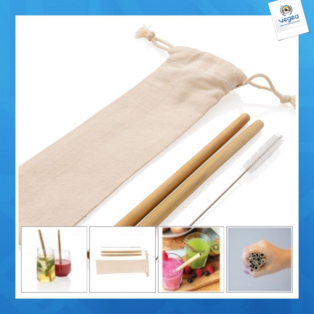 Set 2 pailles personnalisées en fibres de bambou