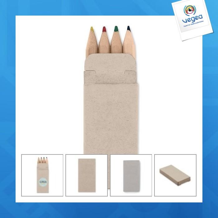 Set 4 mini crayons de couleur logotés