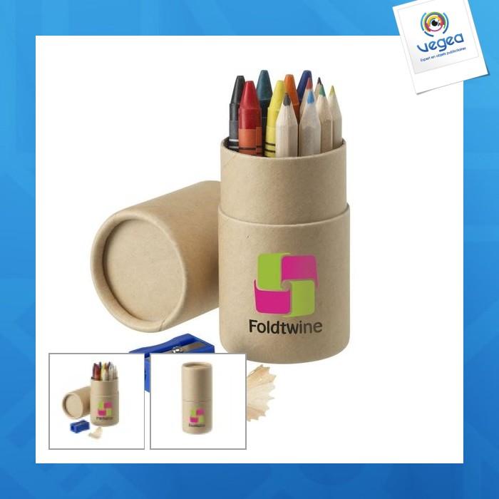 Set crayons de couleur logotés et de cire