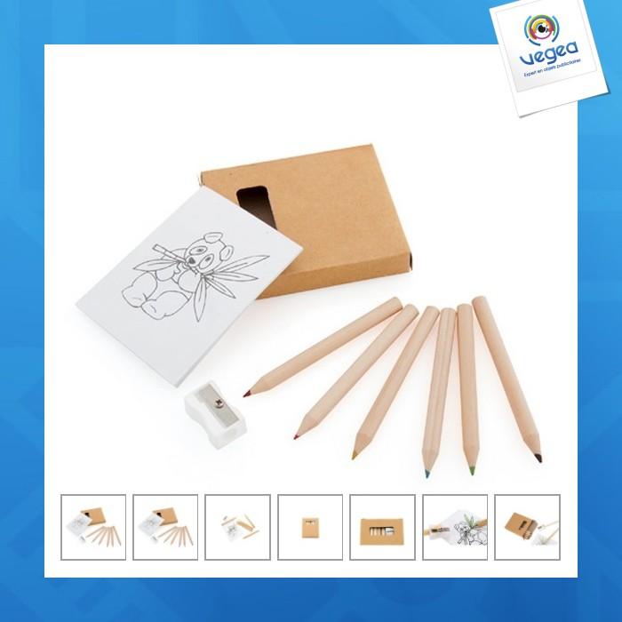 Set crayons de couleur logotés et taille crayon figgy